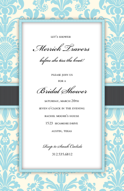 Aqua Damask Ribbon