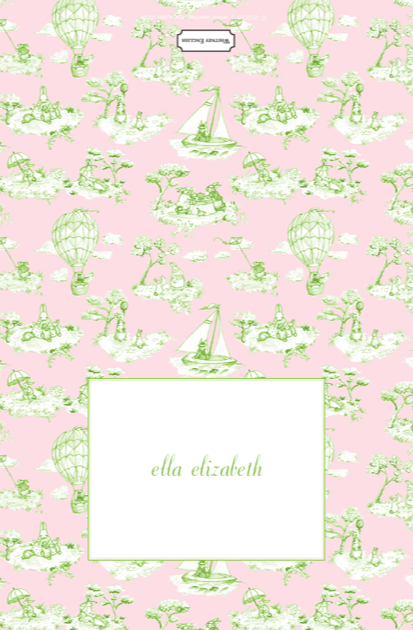Pink Green Bunny Toile